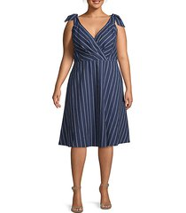 plus striped faux wrap dress