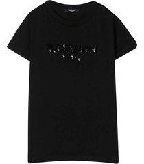 balmain black teen t-shirt with sequins