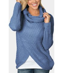 blue crossed front design roll neck knitted jumper