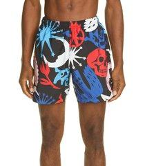 men's alexander mcqueen papercut print swim trunks, size x-large - black