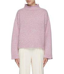 mock neck crop cashmere sweater