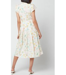 coach women's printed tie neck pleated dress - chal/multi - us 4/uk 8