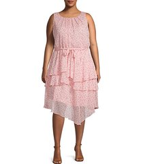 plus tiered dot-print dress