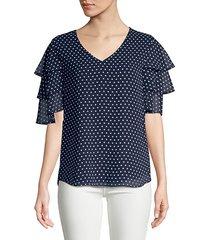 polka dot v-neck blouse