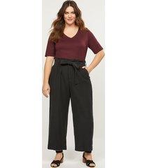 lane bryant women's soft ankle pant with belt 24p black