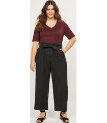 lane bryant women's soft ankle pant with belt 24 black