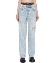 'rival' bandana print underlayer distressed jeans