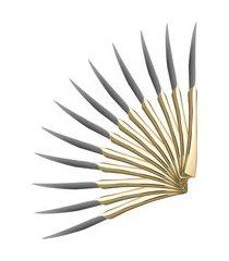jogo 12 facas para mesa wolff berna aço inox e dourado