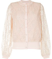 onefifteen lace overlay bomber jacket - pink