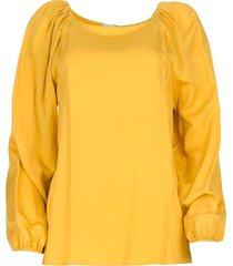 blouse met plooidetails ava  okergeel