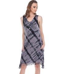 yak & yeti women's dress tie dye tassel trim - gray - x-large