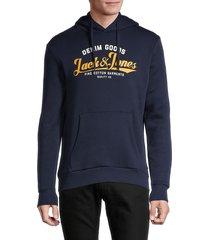 jack & jones men's regular-fit logo hoodie - forest night - size xl