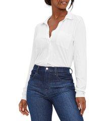 women's michael stars harley long sleeve ultra jersey shirt, size small - white