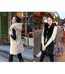 hoodie women vest high grade imitation rabbit fur hip-long vest