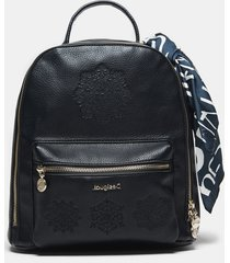 backpack embroidered with scarf - black - u