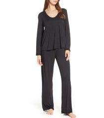 women's barefoot dreams luxe jersey pajamas, size large - black