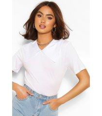 katoenen t-shirt met poplin kraag, wit