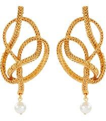 twist knot braided chain pearl drop earrings