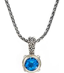 balissima by effy blue topaz round pendant (5-3/4 ct. t.w.) in 18k gold and sterling silver