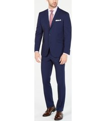 kenneth cole reaction men's ready flex slim-fit stretch bright blue mini grid suit