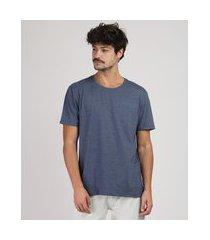 camiseta masculina manga curta básica gola careca azul marinho