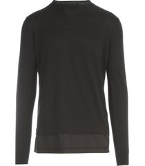 les hommes fit relax sweater w/nylon and zip details