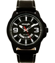 wrangler men's watch, 48mm black ridged case with black zoned dial, outer zone is milled with white index markers, outer ring has is marked with white, analog watch with red second hand and crescent