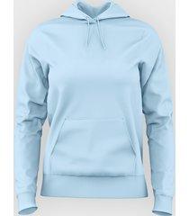 damska bluza z kapturem (bez nadruku, gładka) - jasno niebieska