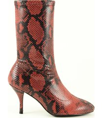 stuart weitzman designer shoes, red embossed stretch leather women's booties
