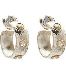 24k goldplated sterling silver & white sapphire hoop earrings