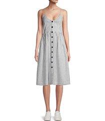 striped button-front linen-blend a-line dress