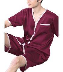 hombres summer ice silk soft cómodo conjunto de pijama de pantalones cortos de manga corta