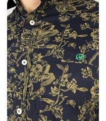 camisa a manga corta flores negra para hombre - ccm043