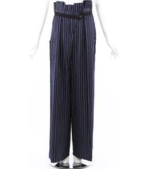 golden goose deluxe brand sayuri blue silver pinstriped palazzo pants blue/silver sz: s