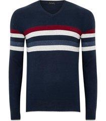 suéter tricot listrado navy comfort