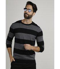 suéter masculino em tricô listrado gola careca preto
