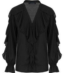 ruches blouse zwart