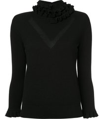 barrie flying lace cashmere turtleneck pullover - black