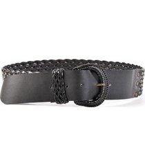 cinturon cuero tejido delgado negro mailea