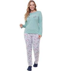pijama longo plus size floral feminino adulto luna cuore