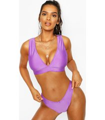 plunge triangle v front brazilian bikini, purple
