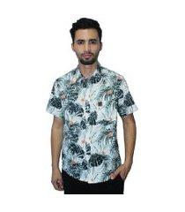 camisa estampada casual camaleão urbano folhagem tropical branca