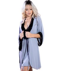 robe sereia curto yasmin lingerie manga longa cinza/preto