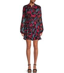 a.l.c. women's jen floral silk shirtdress - black multi - size 0