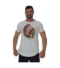 camiseta longline alto conceito caveira indígena cacique branco