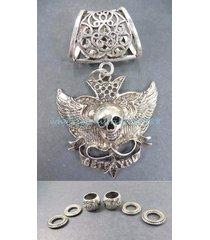 pendant jewelry skull death pendant slider scarf ring