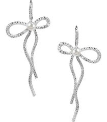 rhodium-plated mother-of-pearl elongated pavé bow earrings