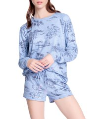 women's pj salvage peachy jersey pajama shorts, size x-large - blue