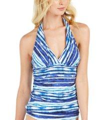 la blanca serene stripe tummy-control halter tankini top women's swimsuit