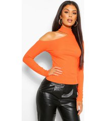 rib cutaway neck long sleeve top, orange